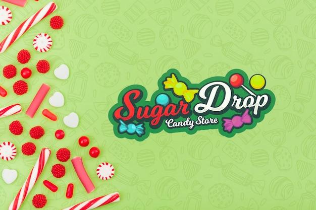 Zuckertropfen-süßwarenladen mit kopienraum