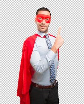 Zufriedene super-geschäftsmann nummer eins geste