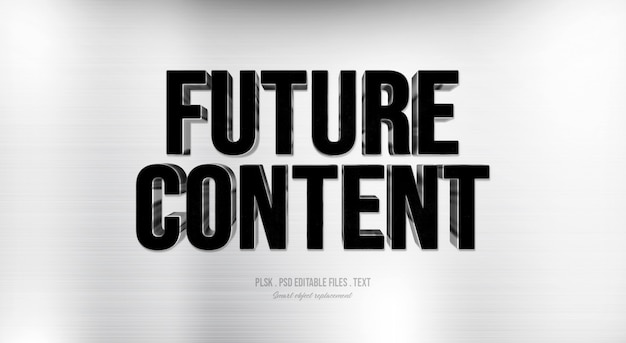 Zukünftiger text-arteffekt des inhalts 3d