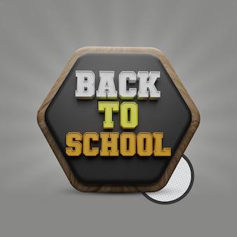 Zurück in die schule 3d-text mit tafelpolygonform