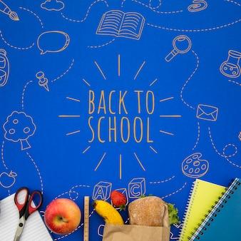 Zurück in die schule rucksack mit studentenzubehör