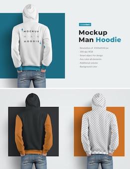 Zurück männliches design hoodie mockups