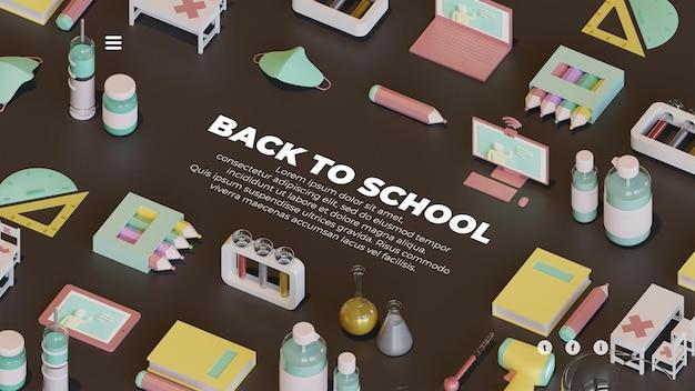 Zurück zu schule-landing-page-vorlage mit komposition von 3d-rendering-objekten