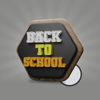 Zurück zur schule 3d-text mit polygontafel