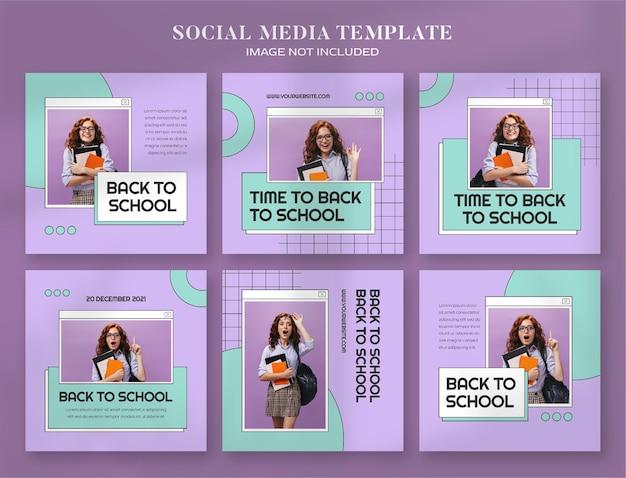 Zurück zur schule social-media-banner und instagram-post-vorlage mit retro-ästhetischem computerstil