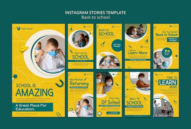 Zurück zur schule social-media-geschichtenpaket