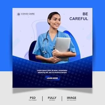 Zusammenfassung blue health doctor social media post banner