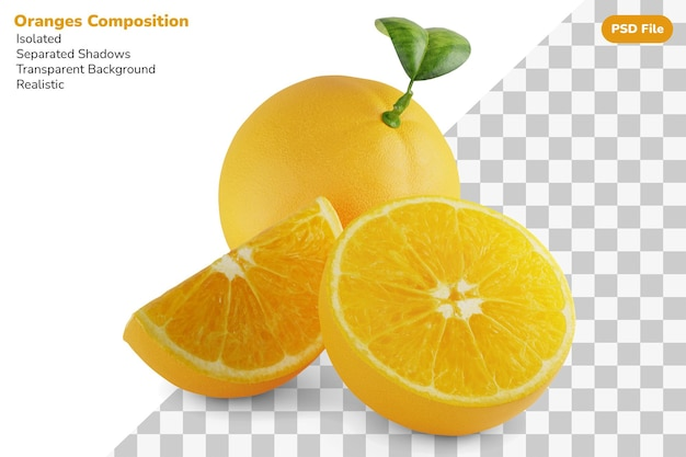 Zusammensetzung der ganzen, halben scheibe, geschnitten von frischen orangen isoliert