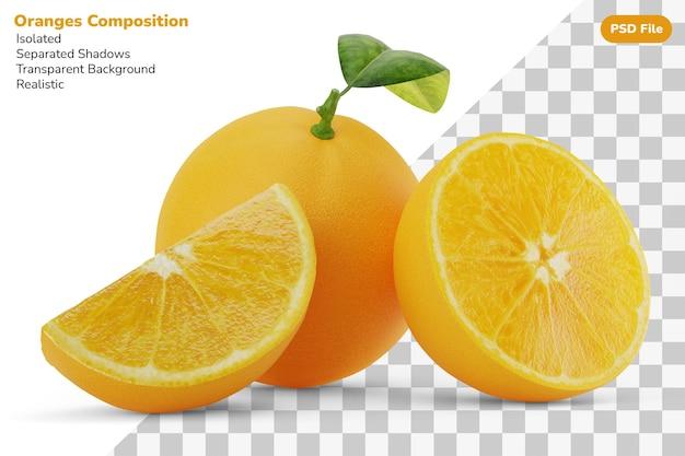 Zusammensetzung der ganzen, halben scheibe, geschnittenes stück köstliche frische orangen isoliert