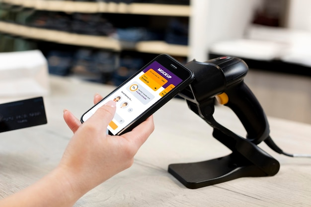 Zusammensetzung der mock-up-app für mobiles bezahlen