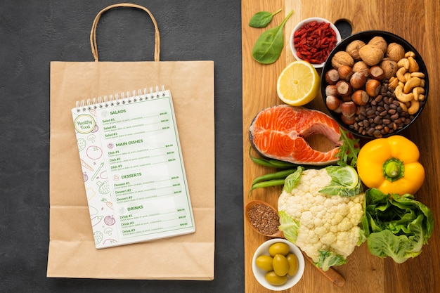 Zutaten für eine gesunde ernährung