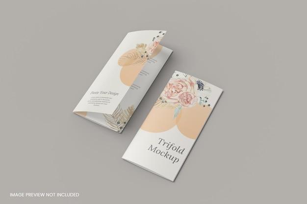 Zwei a4 dreifach gefaltetes broschürenmodell 3d-rendering