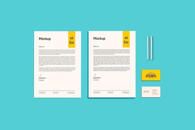 Zwei a4-papier- und visitenkarten-modelle