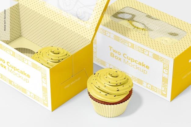Zwei cupcake box mockup