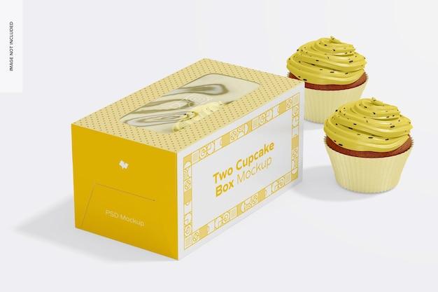 Zwei cupcakes box mockup, geschlossen