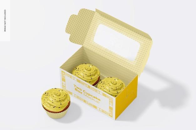 Zwei cupcakes und box mockup, geöffnet