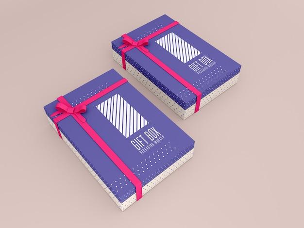 Zwei dekorierte geschenkbox-modell
