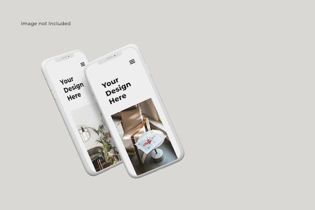 Zwei fliegende ton smartphone gerät gerätemodell
