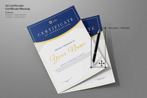 Zwei fliegendes sauberes a4-papier vertikales corporate business-zertifikatsmodell mit unterschriftenstift