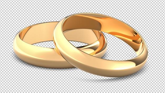 Zwei goldene hochzeits-verlobungsringe isoliert