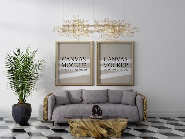 Zwei goldene rahmen im luxus-innenmodell
