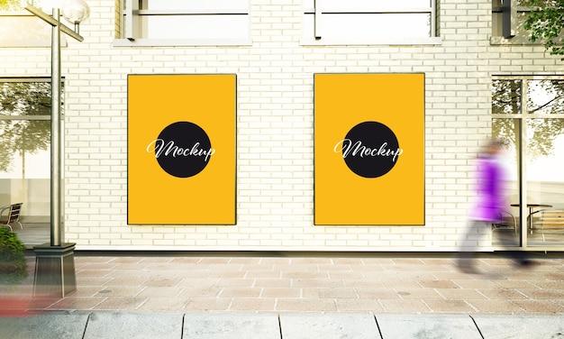Zwei große plakate auf straßenwand 3d rendering-modell