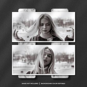 Zwei horizontale papierrahmen-fotomodelle mit schatten- und marmorhintergrund