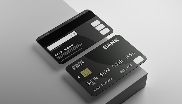 Zwei kreditkarten-mock-up mit bühnenhintergrund.