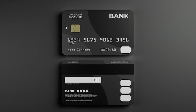 Zwei kreditkartenmock oben und hinten. hintergrund im eleganten stil