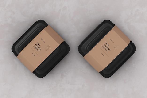 Zwei lebensmittelbehälter-verpackungsbox-modell zum mitnehmen