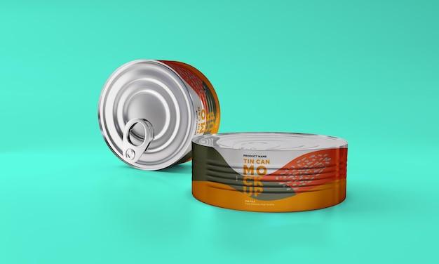 Zwei metall lebensmittel zinn verpackung mockup design