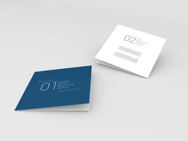 Zwei minimal square bi-fold-broschürenmodell