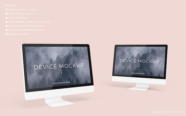 Zwei minimalistische pc-desktop-bildschirmmodelle