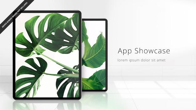 Zwei pixel perfektes ipad pro auf einem gekachelten reflektierenden boden, uhd-modell