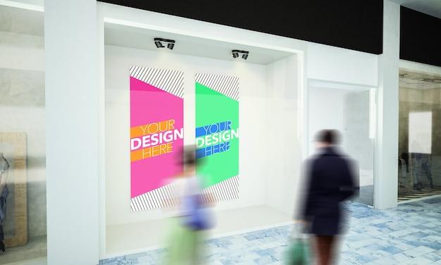 Zwei plakate auf schaufenstermodell