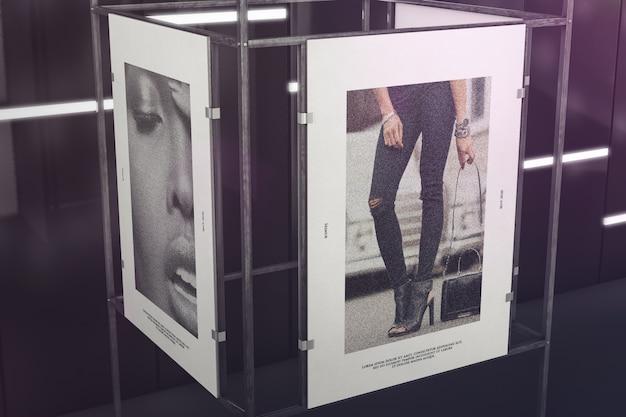 Zwei poster auf holzrahmenmodell