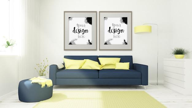 Zwei poster mock up auf wohnzimmer