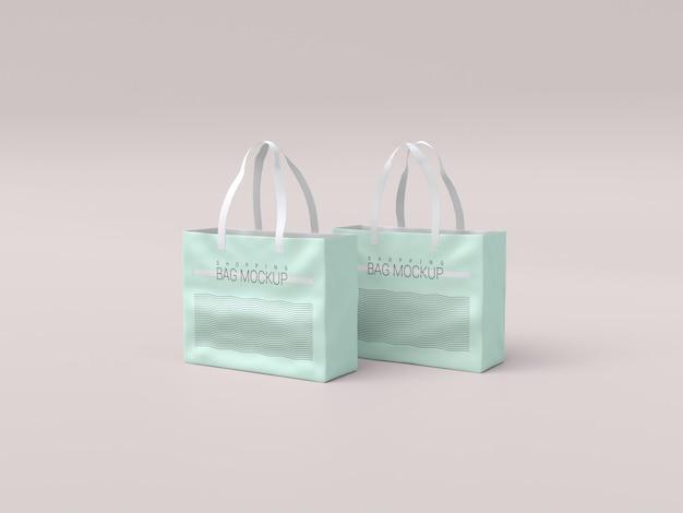 Zwei realistische einkaufstaschenmodell