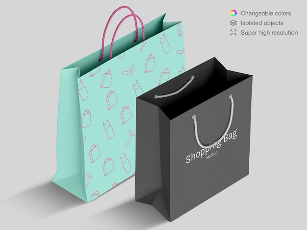 Zwei realistische high angle shopping papiertüten modell vorlage
