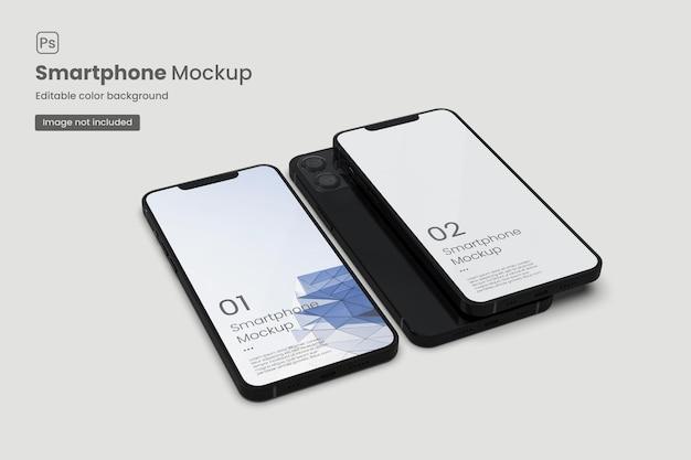 Zwei realistische smartphone-modelle für die app-werbung