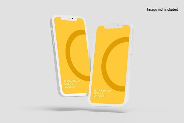 Zwei schwebende smartphone-mockup-design