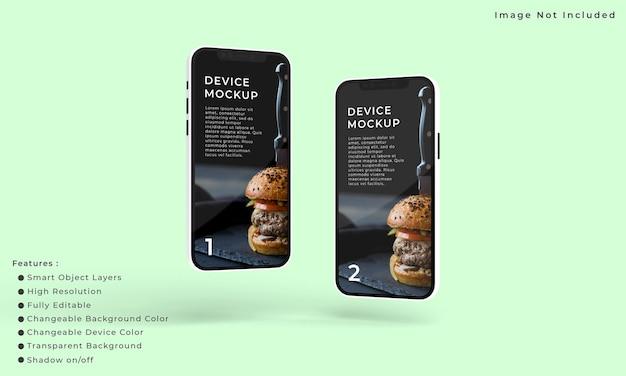 Zwei smartphones und bildschirmmodelle für die präsentation der anwendungsschnittstelle