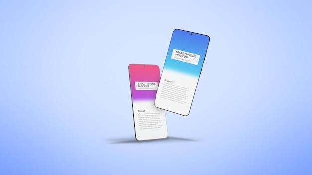 Zwei verschiedene clean smartphone app bildschirmpräsentationsmodell