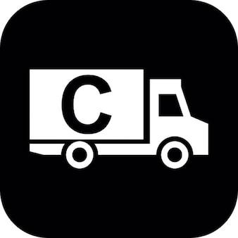 Camion carico con la lettera c su sfondo nero quadrato
