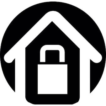 Casa con serratura contorno su sfondo nero circolare