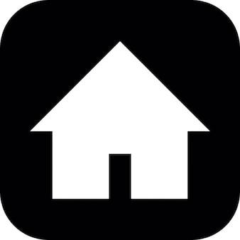 Casa silhouette su sfondo nero quadrato