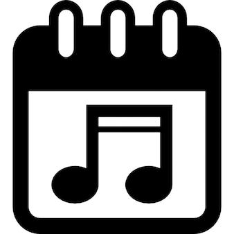 Giorno di spettacolo musicale sulla pagina del calendario