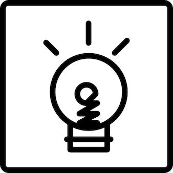 Lampadina scarabocchio luce su uno sfondo quadrato