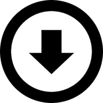 Punta della freccia verso il basso in un cerchio