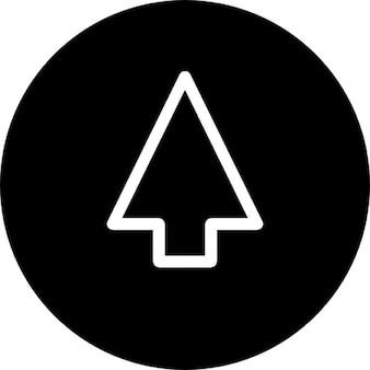 Arrow up schets op cirkel achtergrond